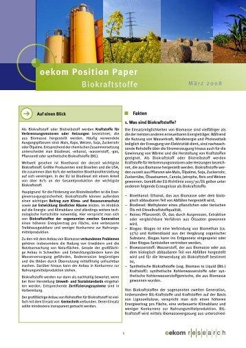 oekom Position Paper - Oekom Research