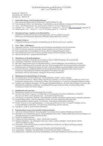 EG Sicherheitsdatenblatt gemäß Richtlinie 91/155/EWG Seite 1 von ...