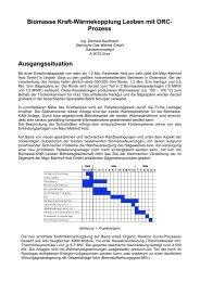 Biomasse Kraft-Wärmekopplung Leoben mit ORC- Prozess ...