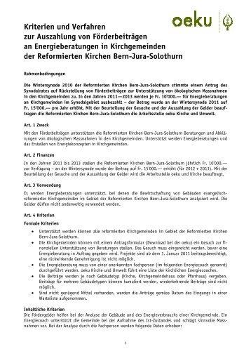 Kriterienliste und Verfahren - oeku Kirche und Umwelt