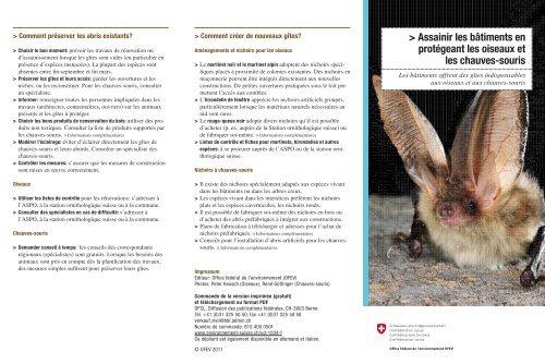 Assainir les bâtiments en protégeant les oiseaux ... - BAFU - admin.ch