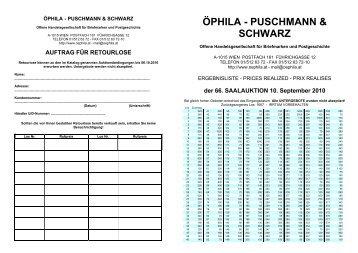 ÖPHILA - PUSCHMANN & SCHWARZ - Öphila Wien