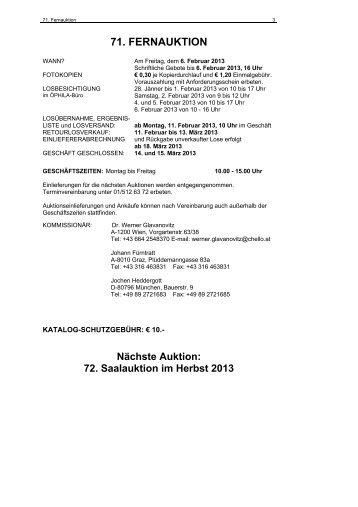 71. FERNAUKTION - Öphila Wien