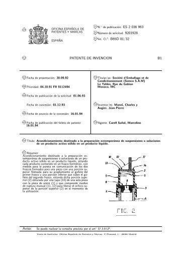 51 int cl 5 oficina espa ola de patentes y marcas for Oficina de patentes y marcas sevilla