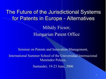 The Future of the Jurisdictional Systems for Patents in Europe ...