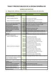 Tasas de la Oficina Española de Patentes y Marcas en el año 2006