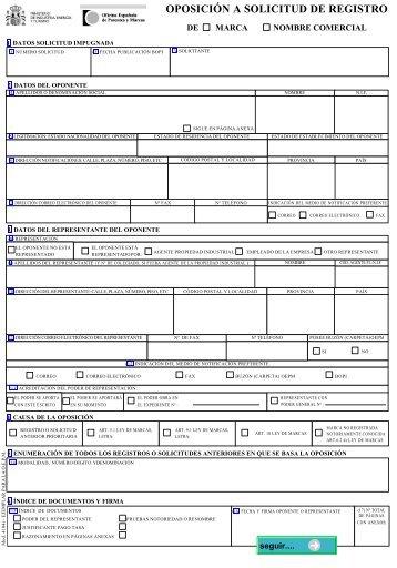 Solicitud de registro de nombre comercial oficina for Oficina registro