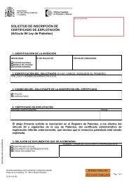SOLICITUD DE INSCRIPCIÓN DE CERTIFICADO DE EXPLOTACIÓN