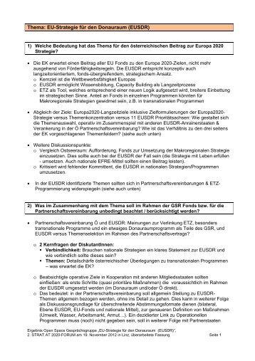 Thema: EU-Strategie für den Donauraum (EUSDR)