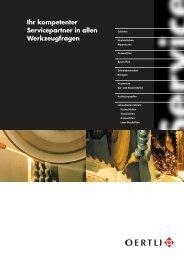 Prospekt Schleifservice - OERTLI Werkzeuge AG