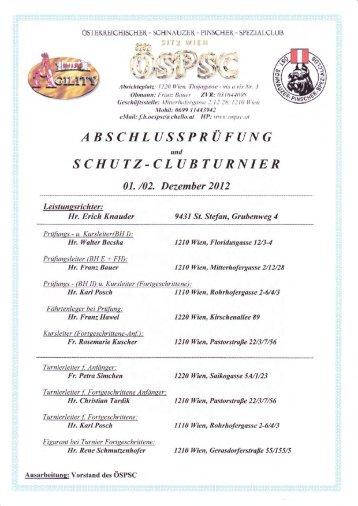 Ergebnisse Leistung-Clubturnier Herbst 2012 - ÖSPSC