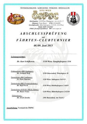Ergebnisse Leistung-Clubturnier Frühjahr 2013 - ÖSPSC