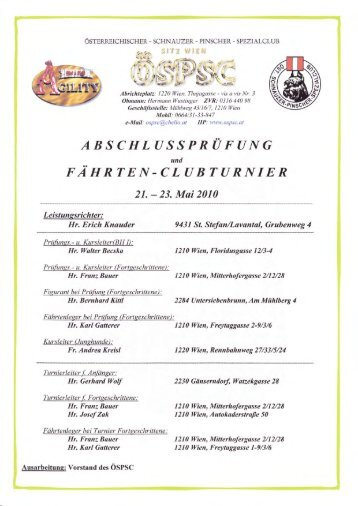 Ergebnisse Prüfung und Clubturnier Leistung FJ 2010 - ÖSPSC