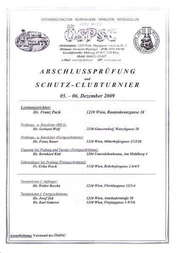 Ergebnisse Leistung-Clubturnier FJ 2009 - ÖSPSC