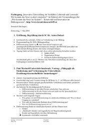 """Fachtagung """"Innovative Entwicklung im Verhältnis Lehrende und ..."""