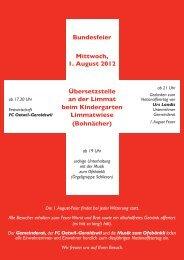 Bundesfeier 2012 - Oetwil an der Limmat