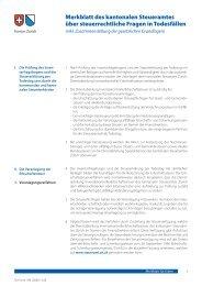 Merkblatt über steuerrechtliche Fragen in Todesfällen - Kanton Zürich