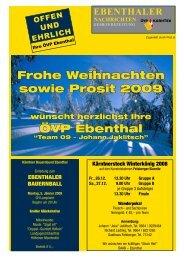 Frohe Weihnachten sowie Prosit 2009 ÖVP Ebenthal - ÖVP Kärnten