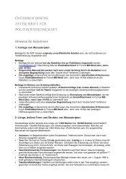 Hinweise für AutorInnen - Österreichische Zeitschrift für ...