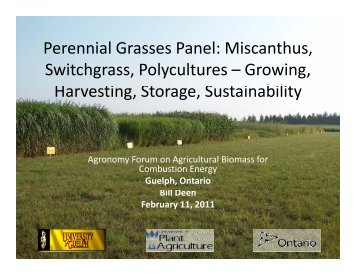 Perennial Grasses Panel - Ontario Federation of Agriculture