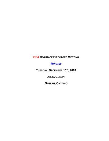 ofa board of directors meeting minutes tuesday, december 15th ...