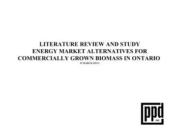 literature review and study energy market alternatives for - Ontario ...