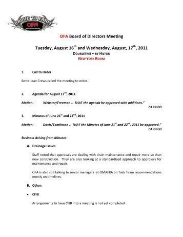 OFA Board of Directors Meeting Tuesday, August 16 - Ontario ...