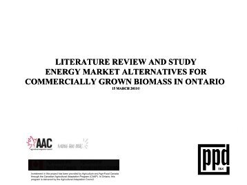 literature review and study energy market alternatives - Ontario ...
