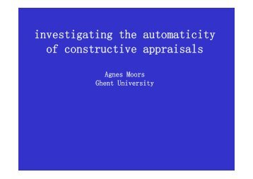 investigating the automaticity of constructive appraisals - OFAI