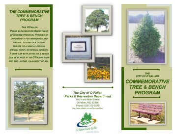 Commemorative Tree & Bench Program brochure - City of O'Fallon