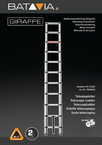 Bedienungsanleitung GIRAFFE 2.61m Teleskopleiter - TÜV/GS