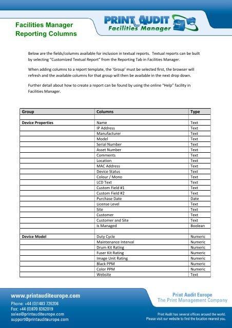 Facilities Manager Reporting Columns - Off-script.com
