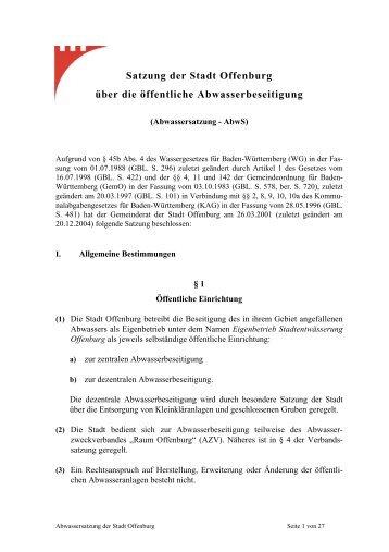 Satzung der Stadt Offenburg über die öffentliche Abwasserbeseitigung
