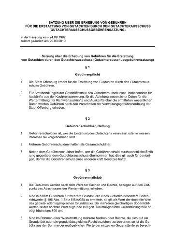 Gutachterausschussgebührensatzung - Stadt Offenburg
