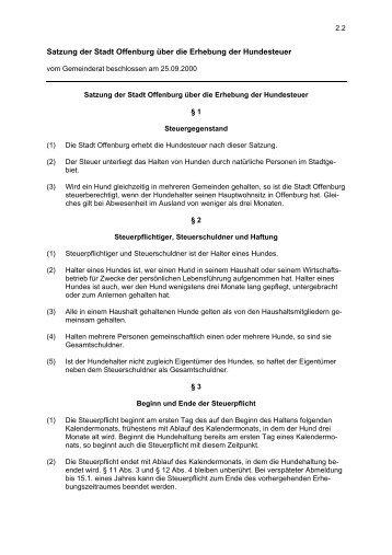 Satzung der Stadt Offenburg über die Erhebung der Hundesteuer