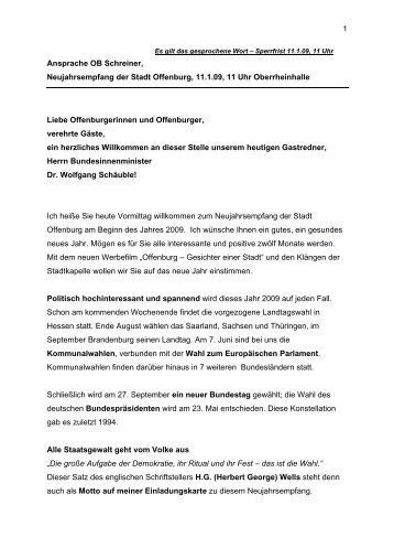 Es gilt das gesprochene Wort – Sperrfrist 6 - Stadt Offenburg