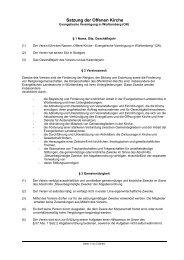 Satzung der Offenen Kirche - Offene Kirche Württemberg