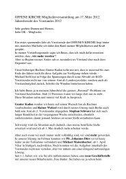 Vorstandsbericht - Offene Kirche Württemberg