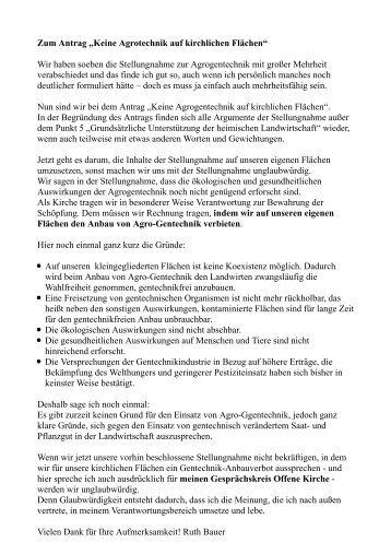 Gentechnik Aussprache - Offene Kirche Württemberg