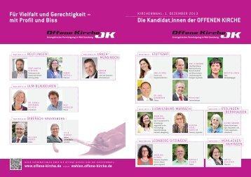 OK-Kandidaten-Übersicht für die Kirchenwahl 2013 - Offene Kirche