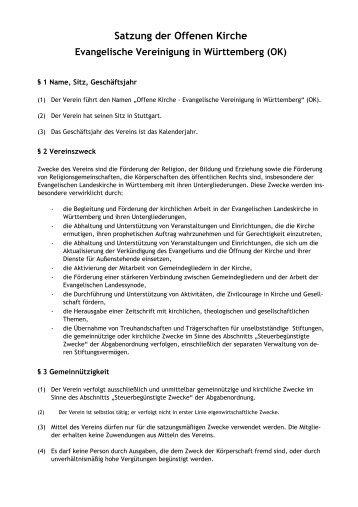 Satzung der Offenen Kirche (PDF) - Offene Kirche Württemberg