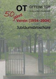 Jubiläumsbroschüre 50 Jahre Verein OT - Offene Tür