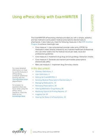 Using ePrescribing with ExamWRITER
