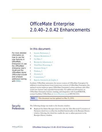 OfficeMate Enterprise 2.0.40–2.0.42 Enhancements