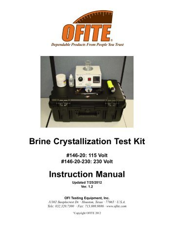 Brine Crystallization Test Kit - OFI Testing Equipment, Inc.