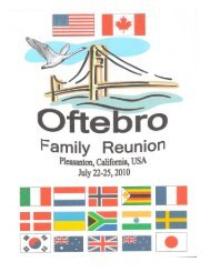 Report from Oftebro Family Reunion in Pleasanton, California, 2010
