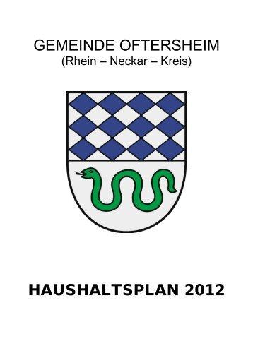 Haushaltsplan 2012 der Gemeinde Oftersheim