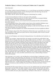 Predigt über Epheser 2, 4-10 am 11. Sonntag nach Trinitatis, dem ...
