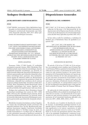 Xedapen Orokorrak Disposiciones Generales - Ekonomia eta ...