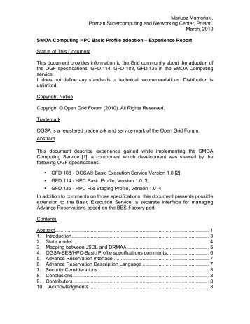 SMOA Computing HPC Basic Profile adoption ... - Open Grid Forum